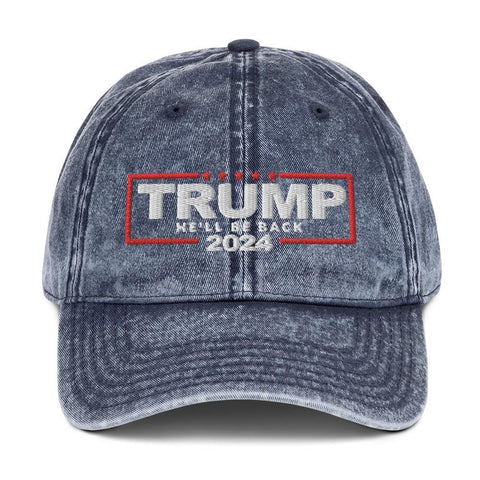 Trump 2024 Hat He'll Be Back Vintage Cotton Baseball Cap