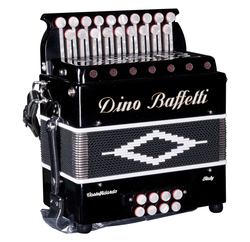 Dino Baffetti - Black Pearl II - Melodeon / Diatonic Accordion , squeezebox, baffetti, new, in sotck, fast delivery, 2 voice, 2 row, 19 buttons, stepped keyboard, 8 bass - squeezeboxes