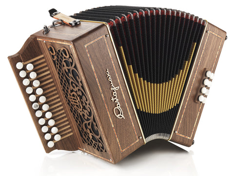 Castagnari - Hascy - Melodeon / Diatonic Accordion - 2 row - 3 voice - 8 bass - 21 button- walnut - cherry - Squeezeboxes