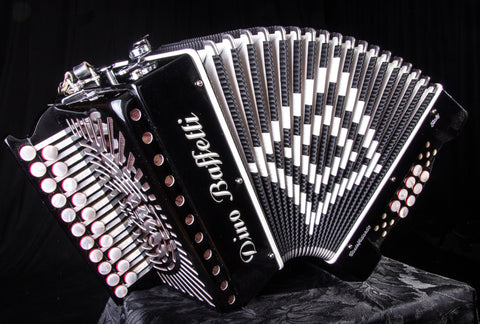 Dino Baffetti - Black Pearl III - Melodeon / Diatonic Accordion - 2 row - 21 button - 8 bass - 3 voice - squeezebox - In stock - World wide shipping - Squeezeboxes