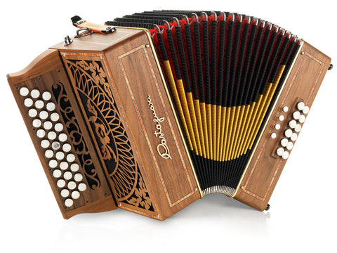 Castagnari - Rik melodeon - 3 row - 2 voice - 12 bass - diatonic accordion - stepped keyboard