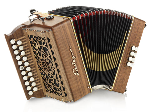 Castagnari - Tommy - 2 row- 3 voice - 8 bass - 21 button - diatonic accordion - Melodeon - walnut - Squeezeboxes