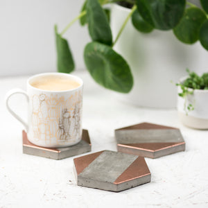 Set of 3 Copper Concrete Coasters
