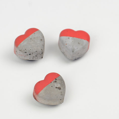Colour Block Concrete Heart Fridge Magnets