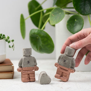 Concrete Copper Robot Couple and Heart – Copper Anniversary – Gift for boyfriend – 7th anniversary gift  - Father's Day