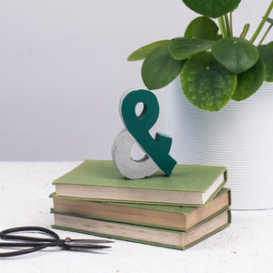Green Diagonal Concrete Ampersand - Ampersand - Anniversary Gift - Gift For her - Gift for him