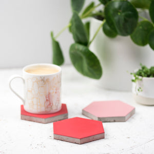Set of 3 pink coaster