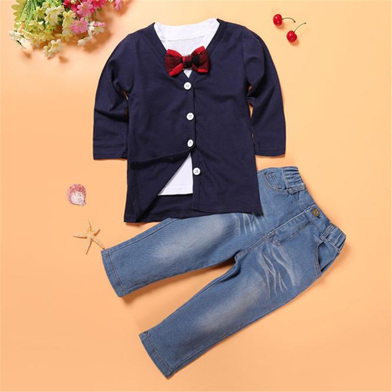 6b5c39ad5 3 Pieces Kids Baby Boys Clothing Suit Long Sleeve T-Shirt Tops+Coat+ ...