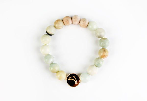 """Dolphin"" Gold Mirror Charm Oil-Diffuser Bracelet"