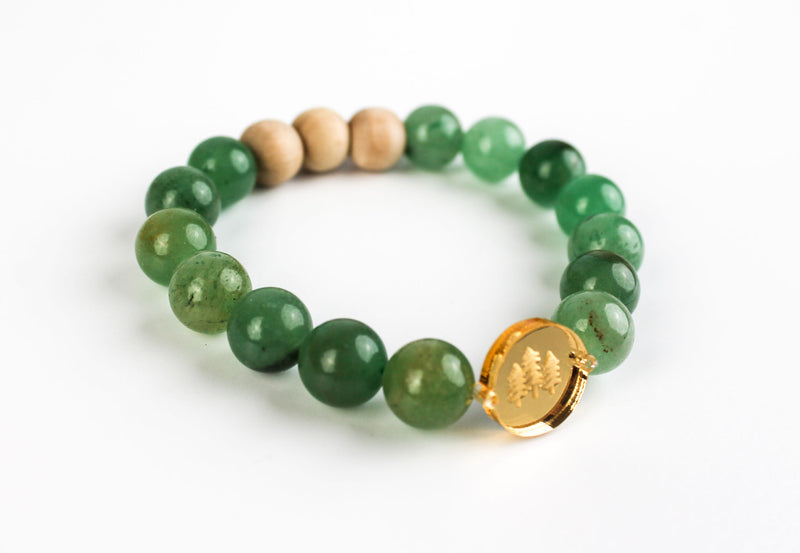"""Pine Trees"" Gold Mirror Charm Oil-Diffuser Bracelet"