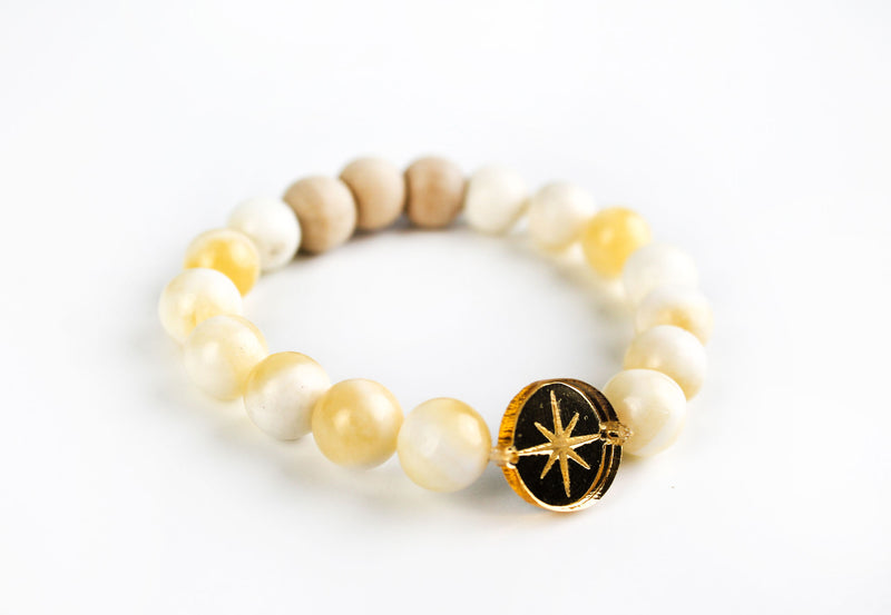 """North Star"" Gold Mirror Charm Oil-Diffuser Bracelet"
