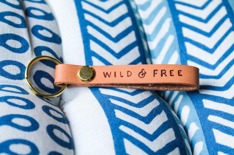 """WILD & FREE"" Leather Loop Keychain"