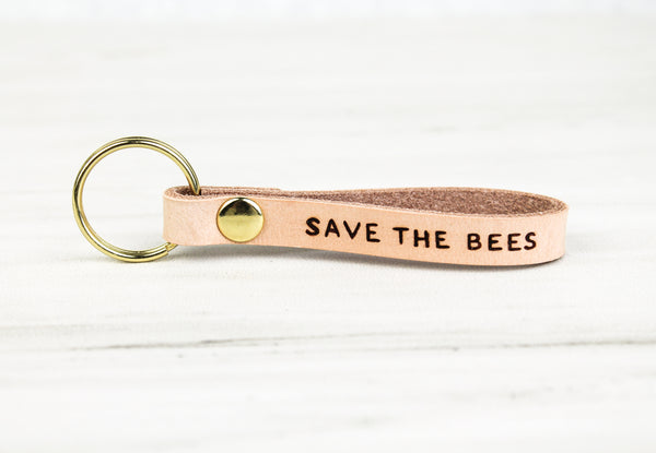 """SAVE THE BEES"" Leather Keychain"