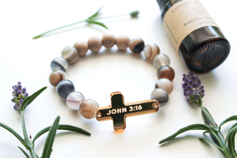 Custom Bible Verse on Gold Acrylic Cross – Stone & Wood Oil-Diffuser Bracelet