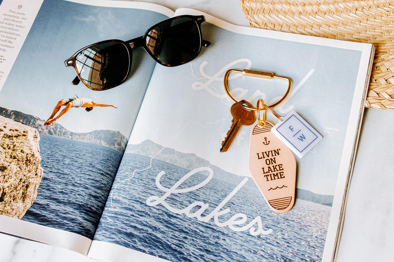 """Livin' on Lake Time"" Genuine Leather & Velvet Key Fob"