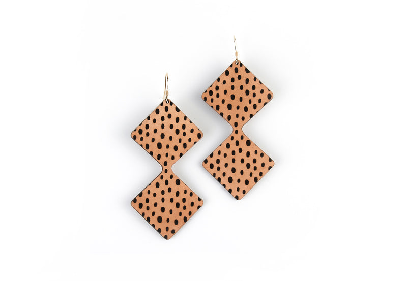 """Double Diamond"" Leather Earrings"
