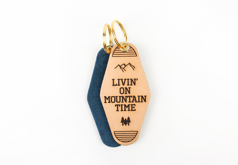 """Livin' on Mountain Time"" Genuine Leather & Velvet Key Fob"