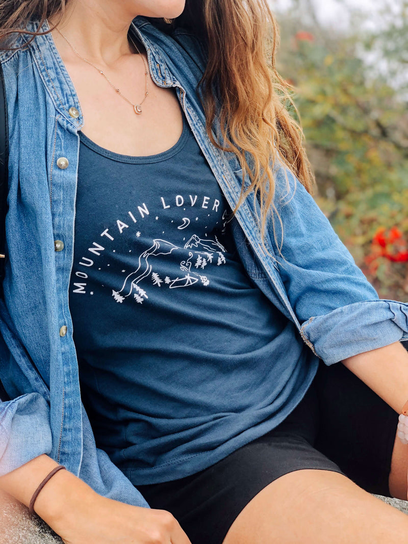 Mountain Lover Club Women's Racerback Tank | Indigo