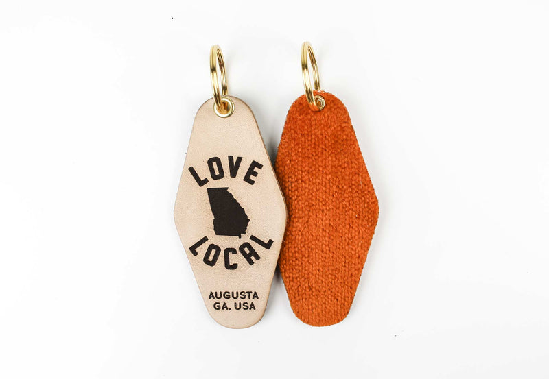 """LOVE LOCAL"" Genuine Leather & Velvet Key Fob"