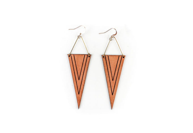 """Deep V"" Leather Earrings"