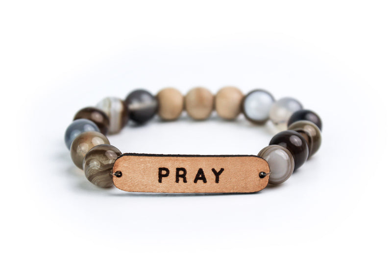 """Pray"" Leather, Stone & Wood Oil-Diffuser Bracelet"