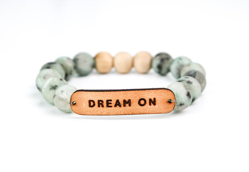 """Dream On"" Leather, Stone & Wood Oil-Diffuser Bracelet"
