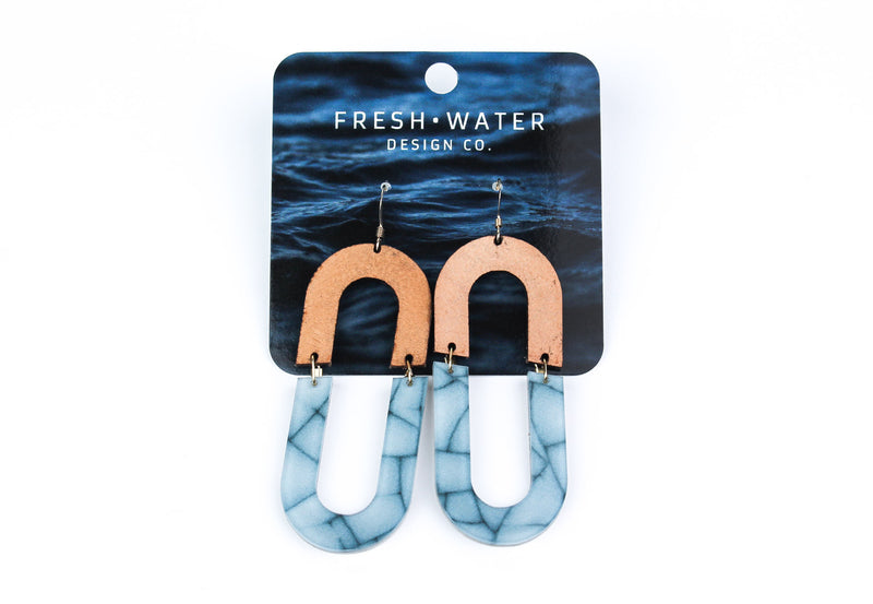HORSESHOE BEND Leather & Acrylic Earrings