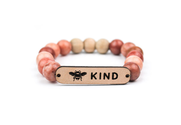 """Bee Kind"" Leather, Stone & Wood Oil-Diffuser Bracelet"