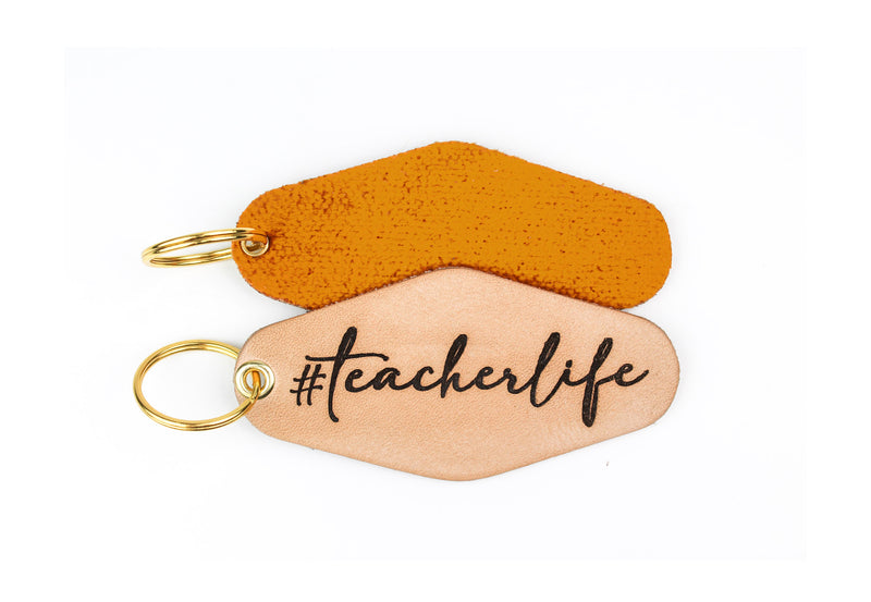 """#teacherlife"" Genuine Leather & Velvet Key Fob"