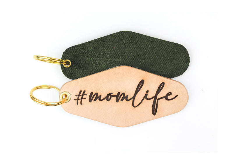 """#momlife"" Genuine Leather & Velvet Key Fob"