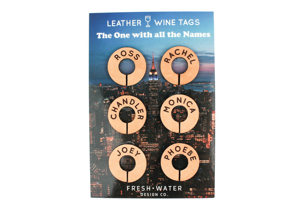 """The One with All the Names - FRIENDS"" Leather Wine Tag Set"