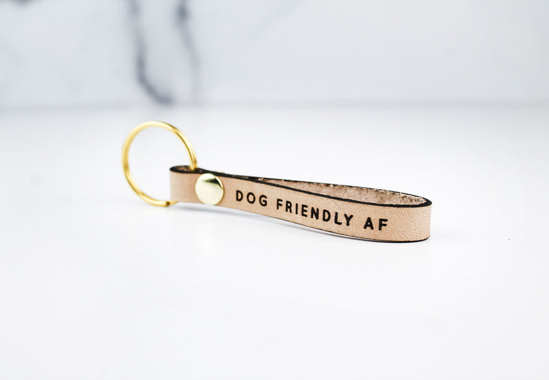 DOG FRIENDLY AF Leather Loop Keychain