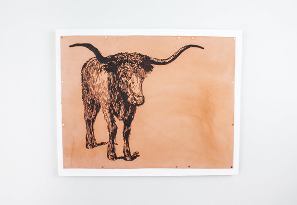 """Longhorn"" Leather on Wood Wall Art"