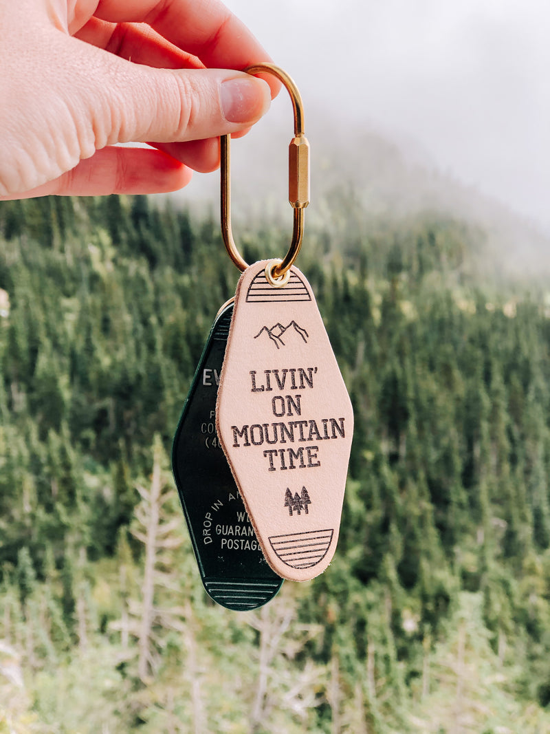LIVIN' ON MOUNTAIN TIME Leather & Velvet Keychain