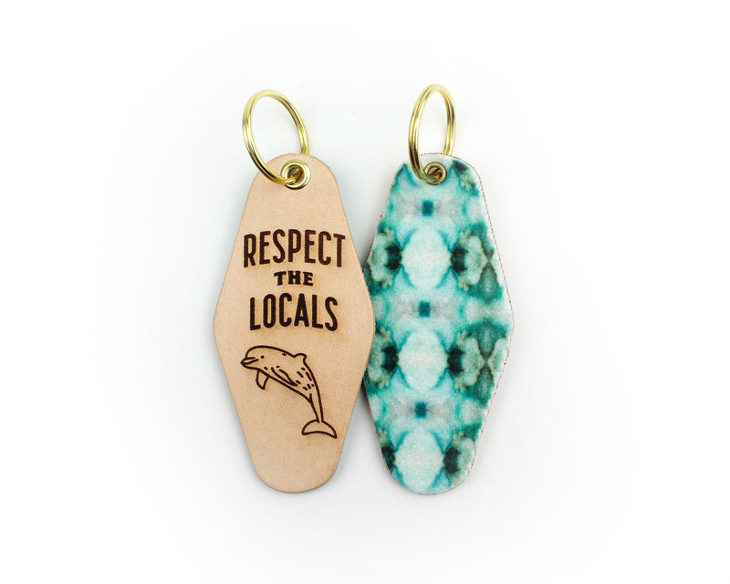 RESPECT THE LOCALS (Dolphin) Leather & Velvet Keychain