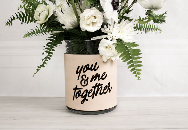 """You & Me, Together"" Genuine Leather & Velvet Large Vase"