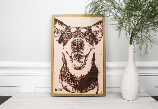 "Custom ""Pet Portrait"" Leather on Wood Wall Art"