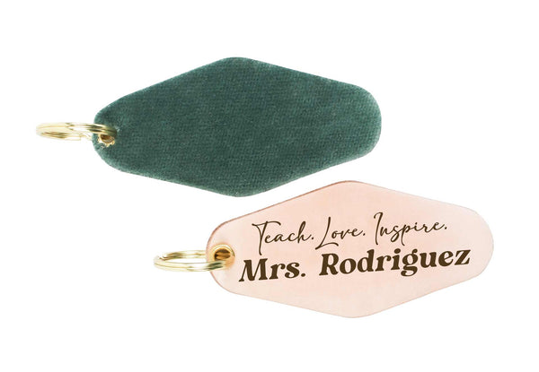 "Custom Teacher ""Teach. Love. Inspire."" Genuine Leather & Velvet Key Fob"
