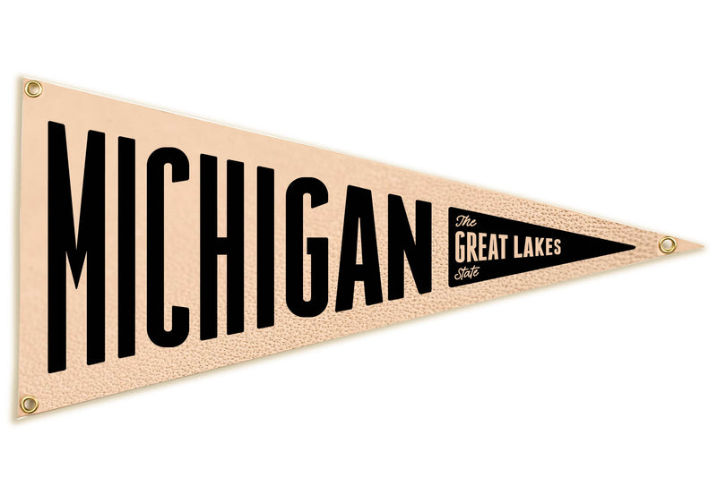"""Michigan"" Leather Pennant Flag"