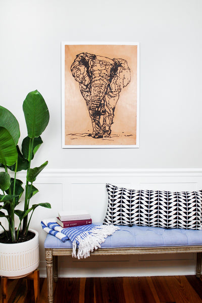 """Elephant"" Leather on Wood Wall Art"