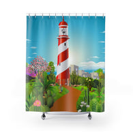 Lighthouse Cacti Garden Shower Curtain
