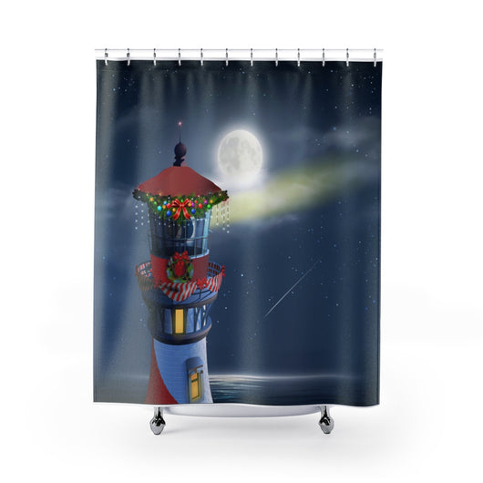 Christmas Lighthouse Shower Curtains