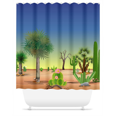 My Cacti Landscape (Blue & Yellow Sky) Shower Curtain