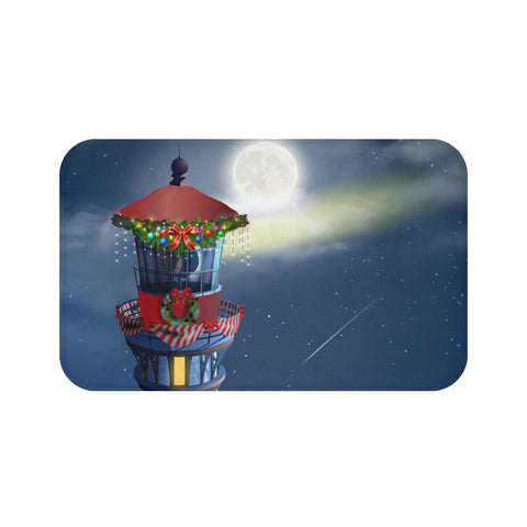 Christmas Lighthouse Bath Mat