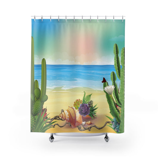 Seashells and Succulents Shower Curtain
