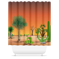 My Cacti Landscape (Orange Sky) Shower Curtain