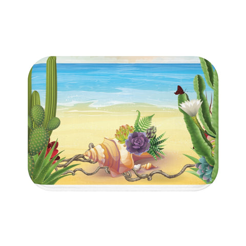 Seashell or Succulents Bath Mat