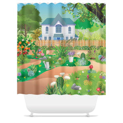 Succulent Landscape Shower Curtain
