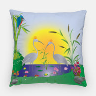The Cranes Outdoor Pillow