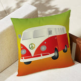 Vintage Bus Outdoor Pillow